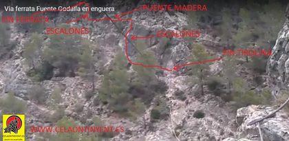 Croquis izquierda via ferrata Fuente Godalla